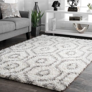 nuLOOM Soft and Plush Keyhole Trellis Shag White Rug (9'2 x 12')