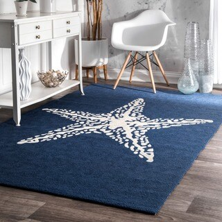nuLOOM Blue Handmade Indoor/ Outdoor Contemporary Coastal Starfish Area Rug (6' x 9') - 6' x 9'