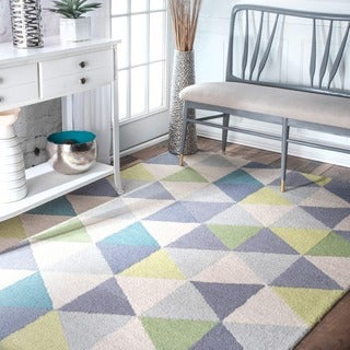 nuLOOM Handmade Dimentional Triangles Wool Green Rug (8'6 x 11'6)