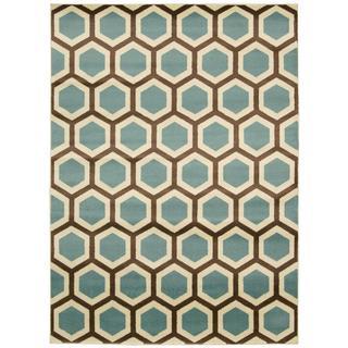 Rug Squared Carlsbad Ivory Blue Rug (3'11 x 5'3)