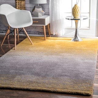 nuLOOM Handmade Soft and Plush Ombre Shag Yellow Rug (9' x 12')