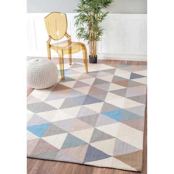 NuLOOM Handmade Dimentional Triangles Wool Grey Rug (4' X
