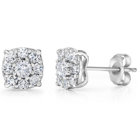 14k White Gold 1 TDW Diamond Composite Earrings