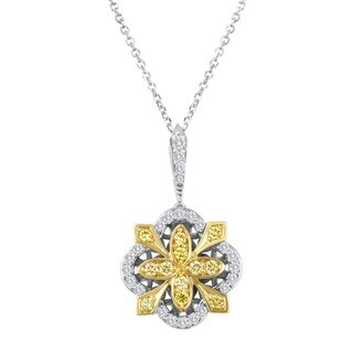 18k Two-tone Gold 1/2ct TDW White and Yellow Diamond Sunburst Pendant Necklace