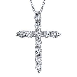 14k White Gold 1ct TDW Diamond Cross Necklace H-SI2