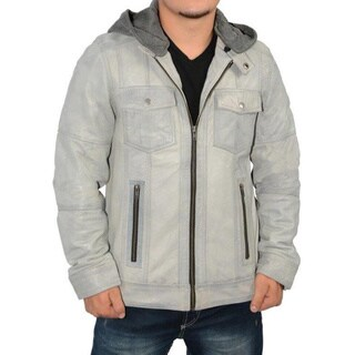 Men's Grey Leather Hooded Jacket
