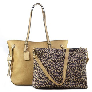 Dasein 2-in-1 Gold Tone Patent Trim Tote Bag