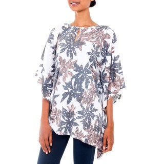 Handcrafted Rayon from Bamboo 'Fragrant Flower' Caftan (Indonesia)