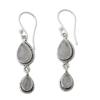 Handmade Sterling Silver 'Misty Teardrops' Rainbow Moonstone Earrings (India)
