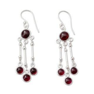 Handmade Sterling Silver 'Dreamer' Garnet Earrings (India)