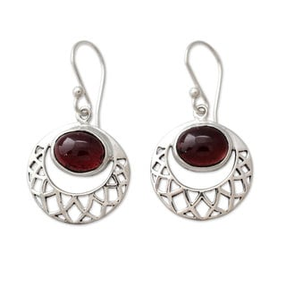 Handmade Sterling Silver 'Web of Hope' Garnet Earrings (India)