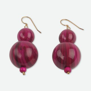 Handcrafted Sese Wood 'Dzidzo in Pink' Earrings (Ghana)