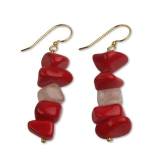 Handcrafted Brass 'Red Velvet' Agate Earrings (Ghana)