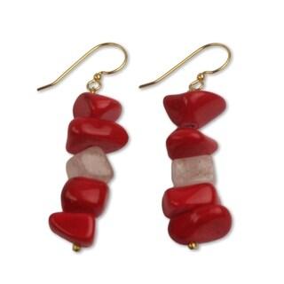Handmade Brass 'Red Velvet' Agate Earrings (Ghana)