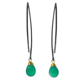 Sterling Silver 'Sublime Green Sparkle' Chalcedony Earrings (Thailand)