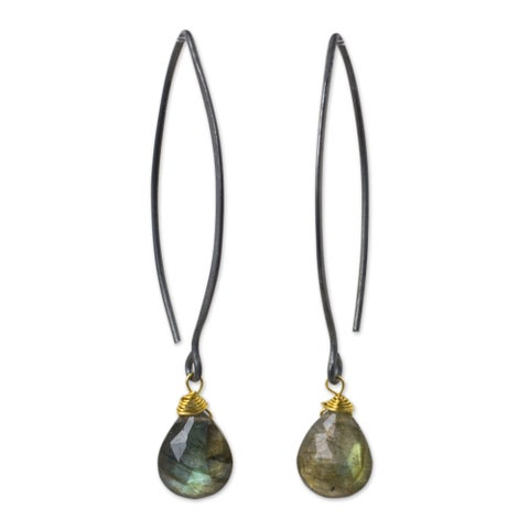 Handmade Sterling Silver 'Midnight Meadow' Labradorite Earrings (Thailand)
