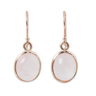 Handmade Gold Overlay 'Morning Rose' Quartz Earrings (Thailand)