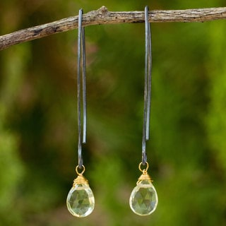 Sterling Silver 'Midnight Meadow' Lemon Quartz Earrings (Thailand)
