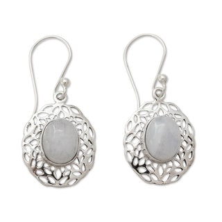 Sterling Silver 'Delhi Dewdrop' Rainbow Moonstone Earrings(India)