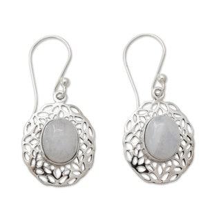 Handmade Sterling Silver 'Delhi Dewdrop' Rainbow Moonstone Earrings(India)
