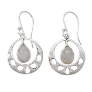 Sterling Silver 'Simply Ravishing' Rainbow Moonstone Earrings (India)
