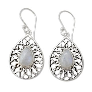 Sterling Silver 'Magical Beauty' Rainbow Moonstone Earrings (India)