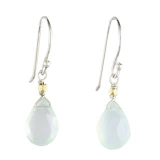 Sterling Silver 'Effortless Blue Glam' Chalcedony Earrings (Thailand)
