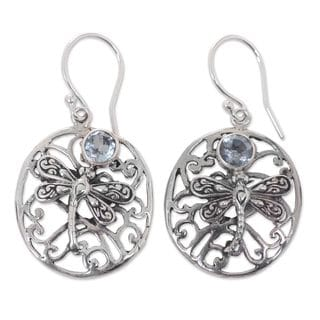 Sterling Silver 'Dancing Dragonflies' Blue Topaz Earrings (Indonesia)