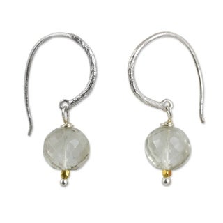 Handcrafted Gold Overlay 'Accents' Quartz Earrings (Thailand)