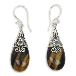 Handmade Silver 'Sunset Aurora' Tiger's Eye Moonstone Earrings (Indonesia)