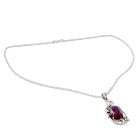 Handmade Splendor Oval Purple Reconstitued Turquoise Gemstone 925 Sterling Silver Cable Chain Pendant Necklace (India)