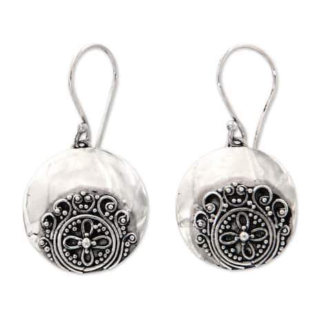 NOVICA Sterling Silver 'Candidasa Beach Blossom' Earrings