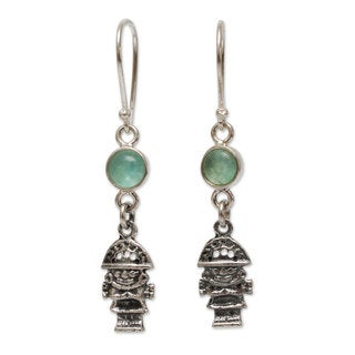 Handcrafted Sterling Silver 'Inca Tumi' Opal Earrings (Peru)