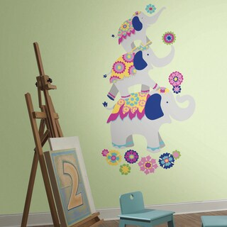 Waverly Pink and Yellow Elephant Mega Giant Wall Decals