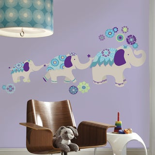 Waverly Teal and Purple Elephant Mega Giant Wall Decals
