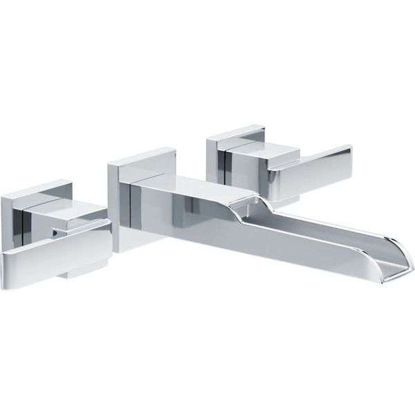 delta ara wall mount faucet by delta ara 2 handle wall mount lavatory faucet with channel