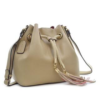 Dasein Saffiano Faux Leather Bucket Bag Hobo Bag