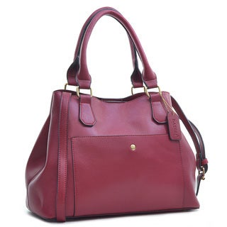 Dasein Saffiano Leather Gathered Top with Shoulder Strap Satchel Bag