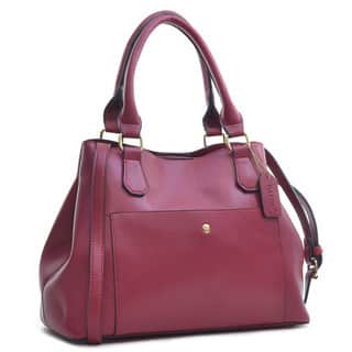 Dasein Faux Saffiano Leather Gathered Top with Shoulder Strap Satchel Bag|https://ak1.ostkcdn.com/images/products/10585861/P17660637.jpg?impolicy=medium