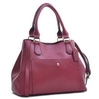 Dasein Saffiano Faux Leather Gathered Top with Shoulder Strap Satchel Bag