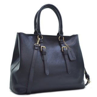 Dasein Saffiano Leather Buckle Strap Handle Satchel Bag