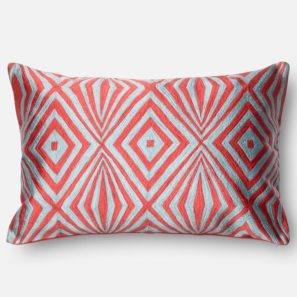 Diamond Coral/ Teal Embroidered Down Feather or Polyester Filled Throw Pillow or Pillow Cover ...