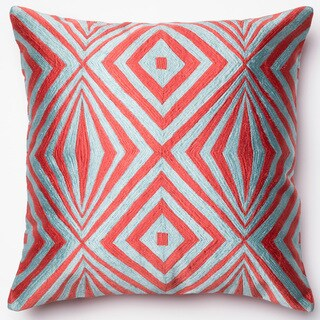 Diamond Coral/ Teal Embroidered Down Feather or Polyester Filled 18-inch Throw Pillow or Pillow Cover