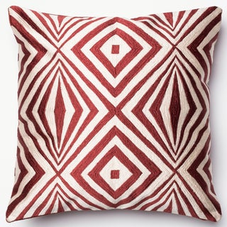 Diamond Red/ Ivory Embroidered Down Feather or Polyester Filled 18-inch Throw Pillow or Pillow Cover