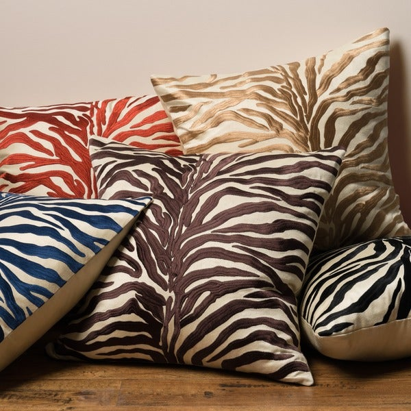 Zebra Modern Safari Embroidered Down Feather Or Polyester