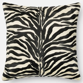 Zebra Modern Safari Embroidered Down Feather or Polyester Filled 18-inch Throw Pillow or Pillow Cover