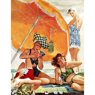 Marmont Hill - Card Game at the Beach by Alex Ross Painting Print on Canvas