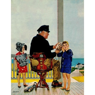 Marmont Hill - Listening to the Sea by John Falter Painting Print on Canvas