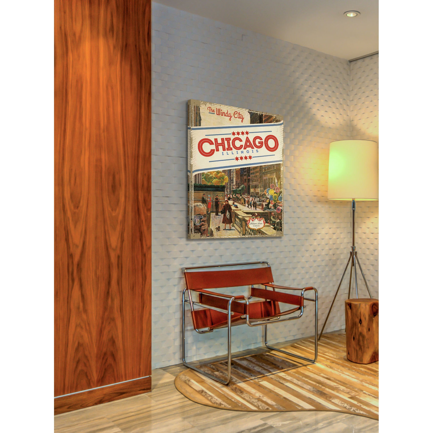 Marmont Hill Handmade John Falter Michigan Avenue Chicago Painting Print On Canvas Overstock 10585952