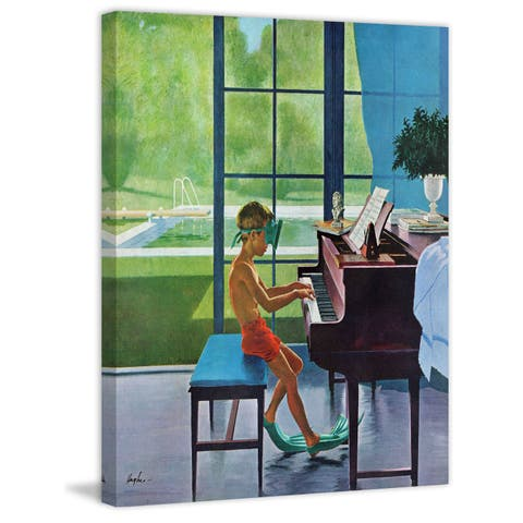 Marmont Hill - Handmade Poolside Piano Practices Painting Print on Canvas